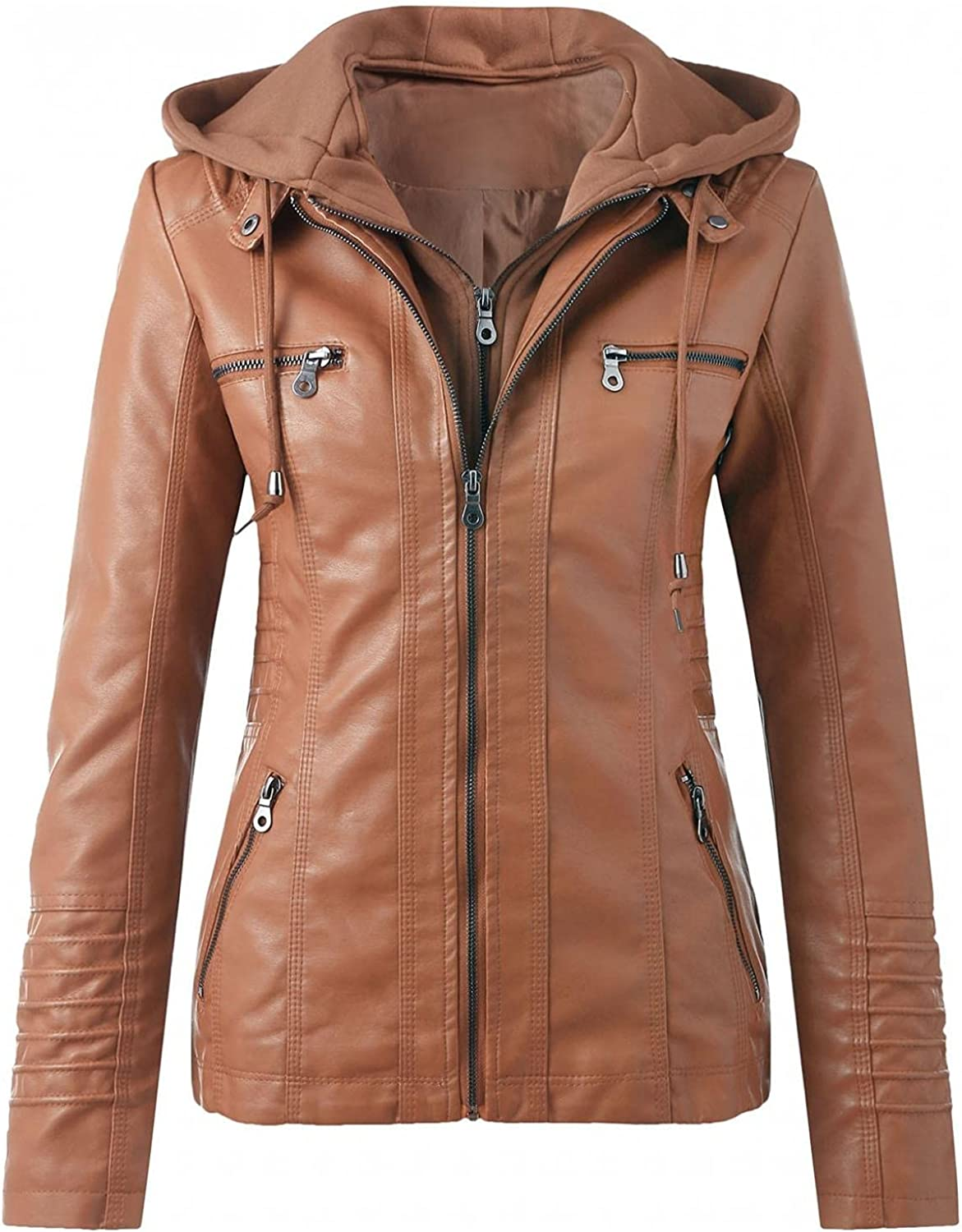 MAICC Women's Faux Leather Hooded Jacket Stand Collar Zip Up Slim Motorcycle Coat for Biker with Removable Hood Plus Size