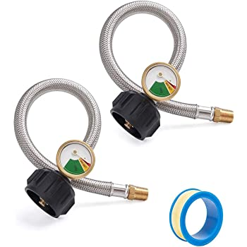 SHINESTAR 1FT 1/4 NPT RV Propane Hose with Gauge for 2-Stage Auto Changeover Regulator, 12 Inch Stainless Braided LP Hose with Type 1 Connection, 2-Pack