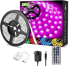 LED Strip Lights 16.4ft, RGB LED Light Strip, 5050 SMD LED Color Changing Tape Light with 44 Keys Remote and 12V Power Sup...