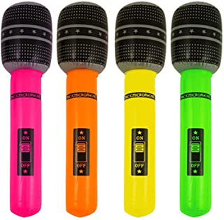 Toyland 1 x Party Time Inflatable 40cm Neon Coloured Microphone (Colours May Vary)