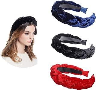 AWAYTR Velvet Braided Flock Padded Headband Spanish Vintage Style Alice Hair Band Matador Headband