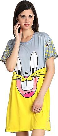 Fflirtygo Long T-Shirts Dress for Women, Grey Color Nightwear, Soft Cotton Loose Fit for Women