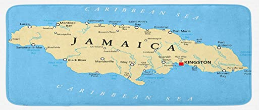 Ambesonne Jamaican Kitchen Mat, Map of Jamaica Kingston Caribbean Sea Important Locations in Country, Plush Decorative Kithcen Mat with Non Slip Backing, 47
