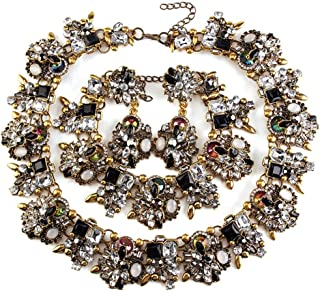Black Vintage Statement Necklace, Bib Choker Crystal Drag Necklace for Women Costume Novelty Jewelry with Gift Box