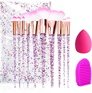 UrsoKuz Makeup Brushes, 10 PCS Essential Make up Brushes Set Acrylic Handle Series Professional Premium Synthetic Cosmetic Brushes Eyeshadow Brushes Kit for Foundation Blending Face Powder Pink