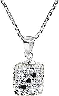 AeraVida Sparkling 3D Cubic Zirconia Dice .925 Sterling Silver Pendant Necklace