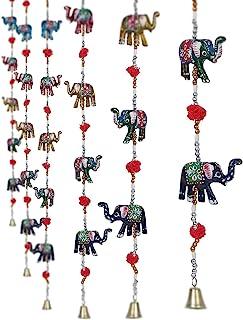 CraftVatika Set of 2 Decorative Elephant Door Hangings Handmade Decorative Wall Hanging with Bead & Brass Bell Indian Hand...