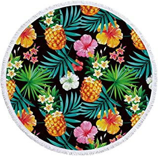 ZYL Microfiber Round Beach Towel, Pineapple Flower, European and American Style Printing, Non-Fading Sunscreen Absorbent B...
