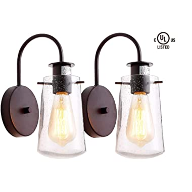 HOMIFORCE Vintage Style 2-Light Industrial Sconces Wall Lighting Set of Two with Seeded Glass Shade Bronze Finished Simplicity Industrial Retro Edison Fixture CL2017035-2(Crommelin Bronze)