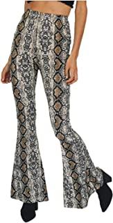 5d45486d5497ef Tamskyt Women's Sexy High Waist Snakeskin Print Hippie Wide Leg Flared  Stretch Casual Bell Long Palazzo