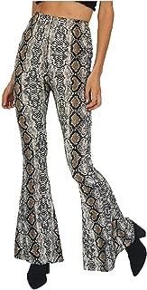 Women's Sexy High Waist Snakeskin Print Hippie Wide Leg Flared Stretch Casual Bell Long Palazzo Bottom Leggings Pants