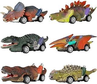 AM ANNA 6 Pack Dinosaur Toy Pull Back Cars Dinosaur Vehicle Set Mini Pull Back Animal Car Toy
