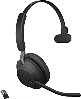 Jabra Evolve2 65 UC Wireless Headset with Link380a, Mono, Black – Wireless Bluetooth Headset for Calls and Music, 37 Hours...