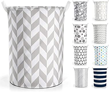 STYLORD® / Collapsible Laundry Baskets - Clothes Hampers for Laundry - Cotton Linen Laundry Bin w/ Waterproof Lining and Draw