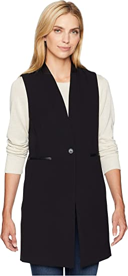 Lux One-Button Vest with Faux Leather
