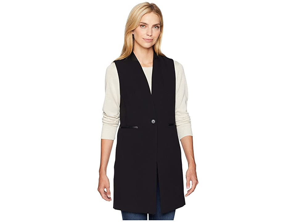 Calvin Klein Lux One-Button Vest with Faux Leather (Black) Women