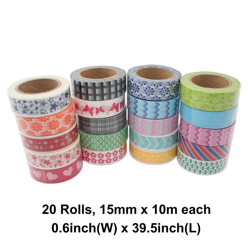 Fnado Washi Masking Tape, Vibrant Decorative Japanese Paper Tapes-DIY Adhesive Decorative Tape, 1.5cm(W)10m(L), Set of 20 Rolls