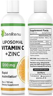 Liposomal Vitamin C & Zinc Liquid -1200mg Supplement Drink- Rapid Cellular Absorption - Great Tasting Drops for Adults & K...
