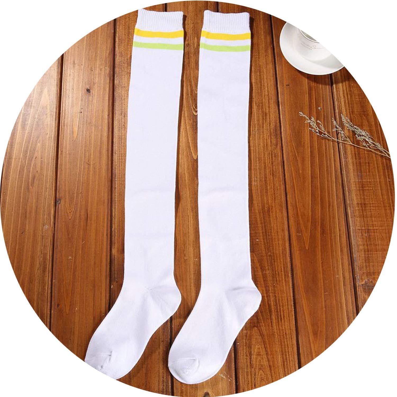 膝の上に2本のバーストライプストッキング スポーツ綿のハイソックス学生の靴下春と秋,白い黄色の緑の帯,40CM