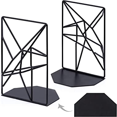 Kirbs' Kollection Bookends, Extra Heavy Duty Metal Bookend Supports for Shelves and Desk, Year 2020 Unique 3D Geometric Design, 1 Pair (Black)