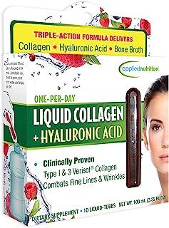 Applied Nutrition Liquid Collagen + Hyaluronic Acid (10 Count of 0.36 Fl Oz Tubes), 3.35 Fl Oz