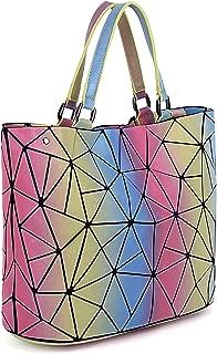 UTO Women Tote Bag Geometric Luminous Shard Lattice Rainbow Holographic Crossbody Shoulder Purse