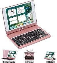 LENRICH iPad Mini 4 Keyboard case 2015 7.9 Backlit, 7 Color Backlight Ultra Slim 360 Degree Rotatable 180 Flip Swivel Wireless Folio Cover Hard Shell Stand Auto Sleep Wake up Rose Gold