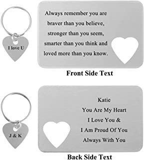 Free Engraving Custom Message Love Note Stainless Steel Wallet Insert Card & Keychain Couple Matching Set Anniversary