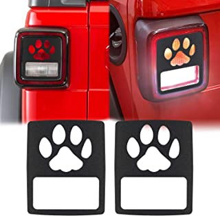Yoursme Tail Light Covers Matte Black Lip Rear Taillight Lamp Guard Protector for 2018 Jeep Wrangler JL Sport/Sports - Pair (Dog Paw Style)