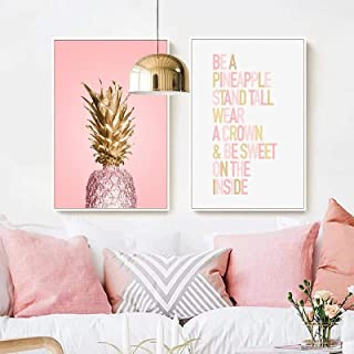 Carteles de ananas rosas plantas piña cuadros artísticos de pared lienzo pintura de paisaje moderno sala de estar impresió...