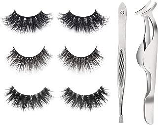 3 Pairs 3 Styles 3D Mink Eyelashes100% Siberian Mink Fur Handmade False Lashes,Reusable False Eyelashes Set for Natural Look with Fake Eyelashes Lashes Applicator, eyebrows tweezer