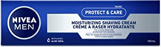 NIVEA Men Protect & Care Moisturizing Shaving Cream (100mL), Shaving Cream for All Skin Types, With Aloe to Protect From D...