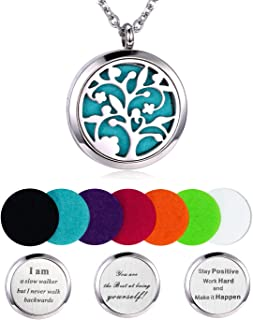 Aromatherapy Essential Oil Diffuser Necklace, Hypoallegenic Stainless Steel Locket with 23 Chain 7 Refill Pads