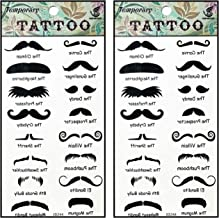 Tattoos 2 Sheets Fantasy Cartoon Black Mustache Temporary Tattoos Body Art Stickers Fake Waterproof Removable Stickers Party for Teens Men Women