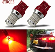 iBrightstar Newest 9-30V Flashing Strobe Blinking Brake Lights 7440 7443 T20 LED Bulbs with Projector replacement for Tail Brake Stop Lights, Brilliant Red