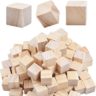 Wood Cubes,100pcs Square Blocks Unfinished Cubic Wooden for Math Counting Craft Childlike Game - 1.5CM