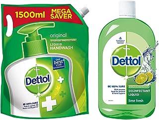 Dettol Original Germ Protection Handwash Liquid Soap Refill, 1500ml and Dettol Liquid Disinfectant Cleaner for Home, Lime ...