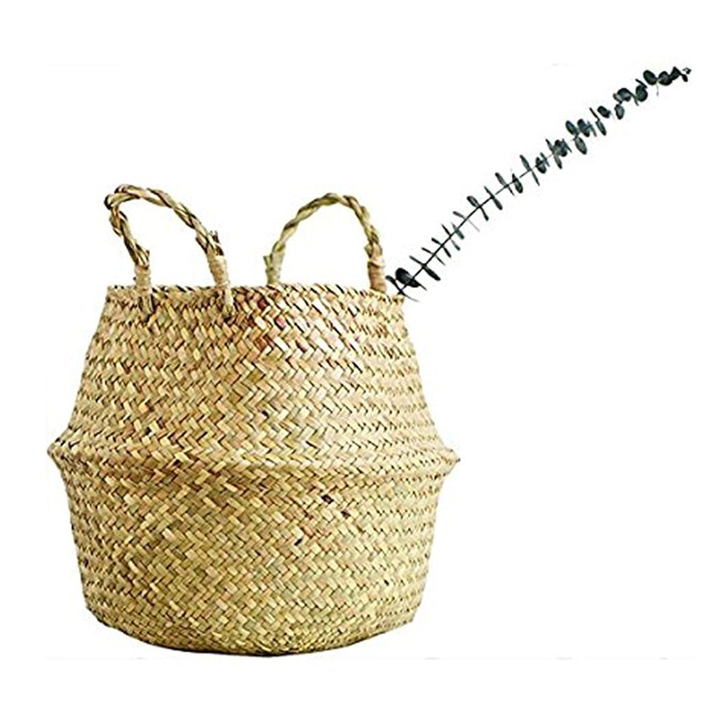 ではごきげんよう逆にプラットフォームSAVORLIVING 編み バスケット 織物 多目的 シーグラス海草 折り畳み 収納バッグ ハンドル付き 収納バスケット ランドリー、ピクニック、鉢カバー、ビーチバッグ Seagrass Woven Basket (XXL)