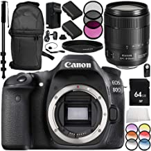 Canon EOS 80D DSLR Camera with Canon EF-S 18-135mm f/3.5-5.6 IS USM Lens 14PC Accessory Bundle – Includes 64GB SD Memory Card + 2x Replacement Batteries + MORE (Certified Refurbished)