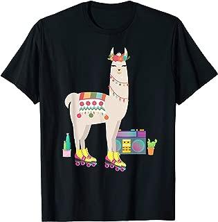 Retro llama Roller Skate Derby 70s 80s T Shirt Gift girl