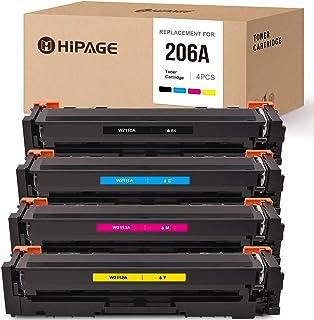 HIPAGE No Chip Compatible Toner Cartridge Replacement for HP 206A 206 W2110A W2111A W2112A W2113A for Color Laserjet Pro M...