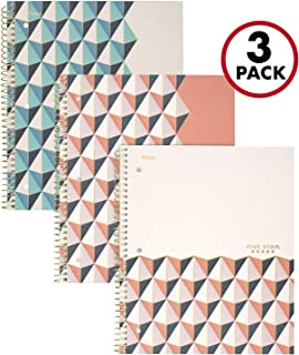"""$20 » Five Star Spiral Notebooks, 1 Subject, College Ruled Paper, 100 Sheets, 11"""" x 8-1/2"""", Interrupt Coral, V Coral, ZigZag Coral, 3 Pack (38503)"""