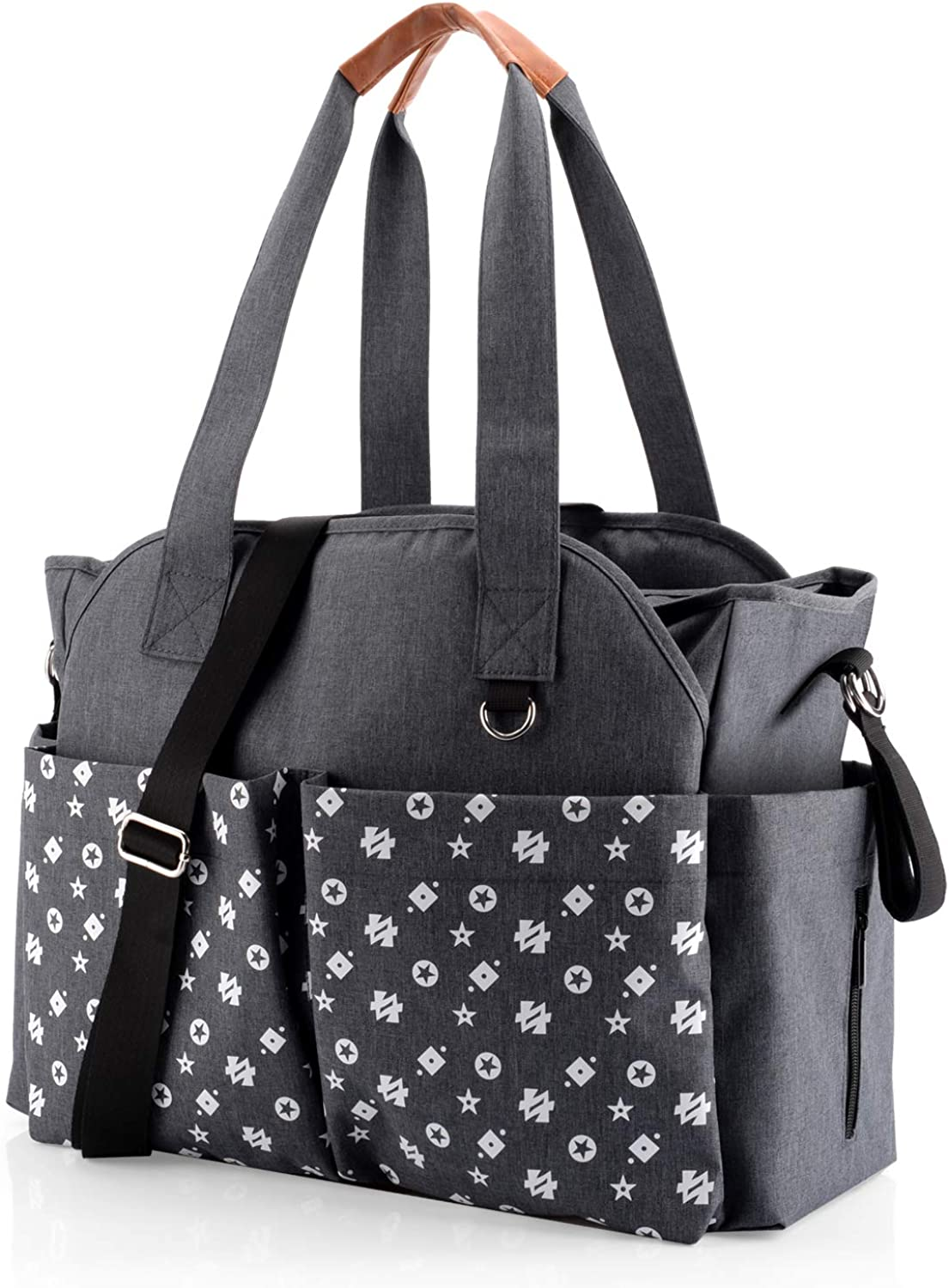 Diaper Tote Bag - Large Travel Baby Bags for Mom & Dad with Insulated Pockets, Wipes Pocket, Waterproof Material, Stroller Straps, Shoulder Strap (Grey)