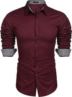 Herren Hemd Slim Fit Diamant-Gitter Karohemd Kariert Langarmhemd Freizeit Business Party Shirt für Männer