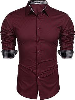 Men's Business Dress Shirt Long Sleeve Slim Fit Casual Button Down Shirt