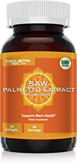 Saw Palmetto Extract (100% Extract) Plus Pumpkin Seed Oil: Pharmaceutical Grade Saw Palmetto Extract - Potent DHT Blocker, Supports Prostate Health & Testosterone Levels 60 softgels