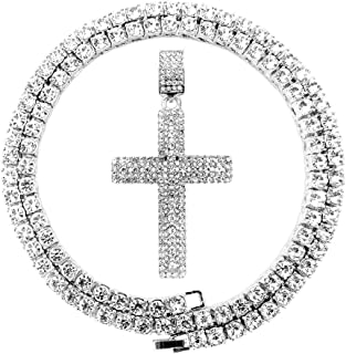 Mens Iced Out Hip Hop Gold Artificial Diamond Ankh Cross Pendant cz Tennis Chain Necklace 22 Inch