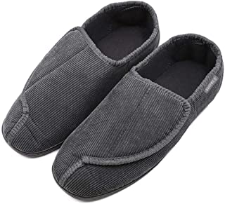 Hotme Men's Memory Foam Diabetic Slippers with Adjustable Closures,Extra Wide Width Comfy Warm Plush Fleece Arthritis Edema Swollen House Shoes Indoor/Outdoor