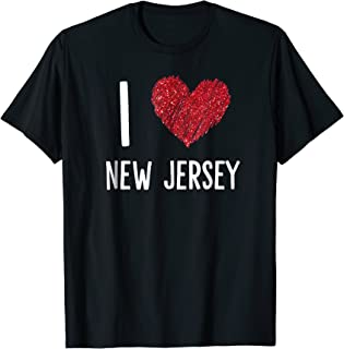 I Love New Jersey NJ Art Heart Vintage Tourist style T-Shirt