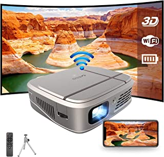 Portable 3D WiFi Projector, Rechargeable Mini DLP Projector Home Theater Outdoor Movie Support Full HD 1080P Wireless Scre...